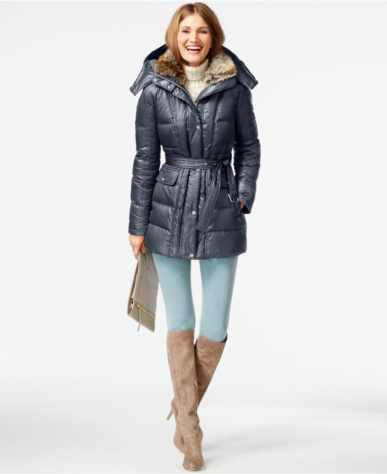 Lyst Vince Camuto Faux Fur Collar Down Puffer Coat In Gray