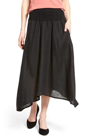 eileen fisher organic linen asymmetrical hem midi skirt in