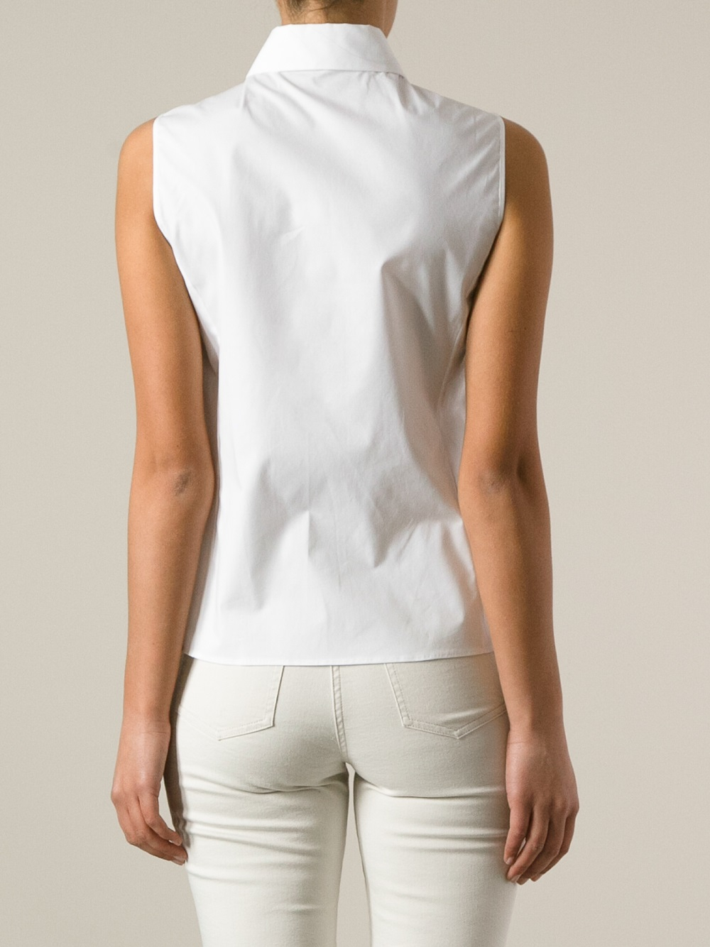 Jil sander navy Sleeveless Shirt in White | Lyst