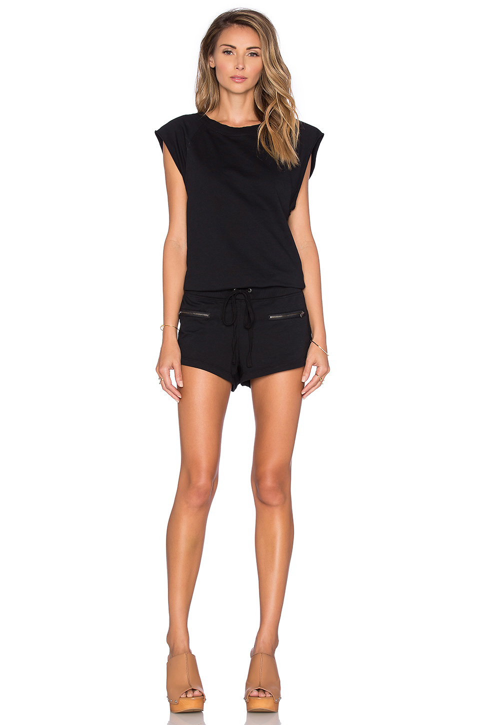 bfd40254600 Lyst - Bobi Lightweight Cashmere Terry Drawstring Romper in Black