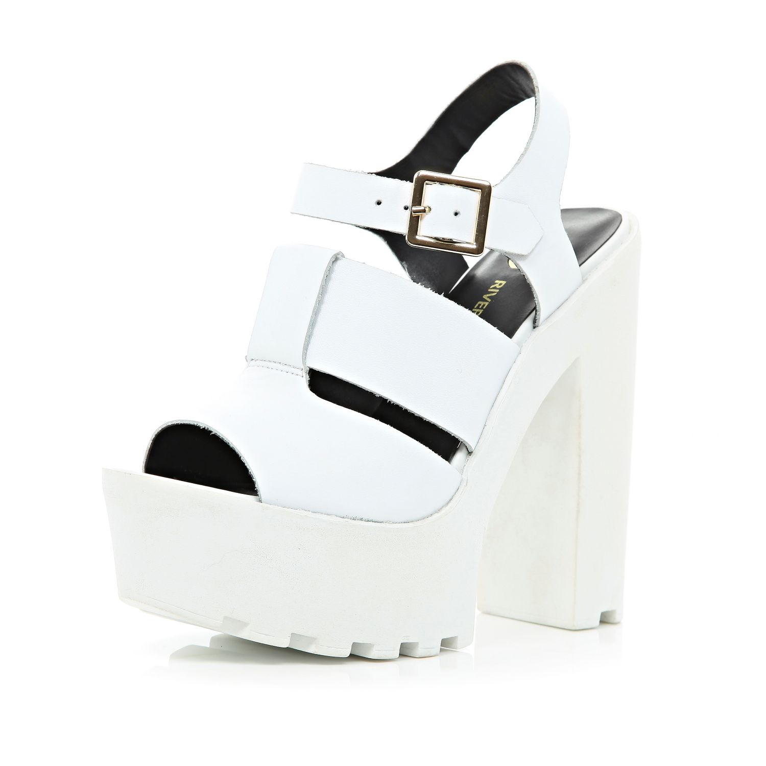 88dac938d74 River Island White Cleated Sole Platform Sandals in White - Lyst