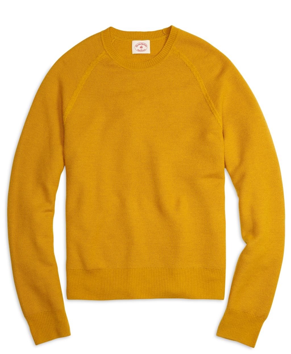 Brooks brothers Merino Wool Honeycomb Crewneck Sweater in Yellow ...