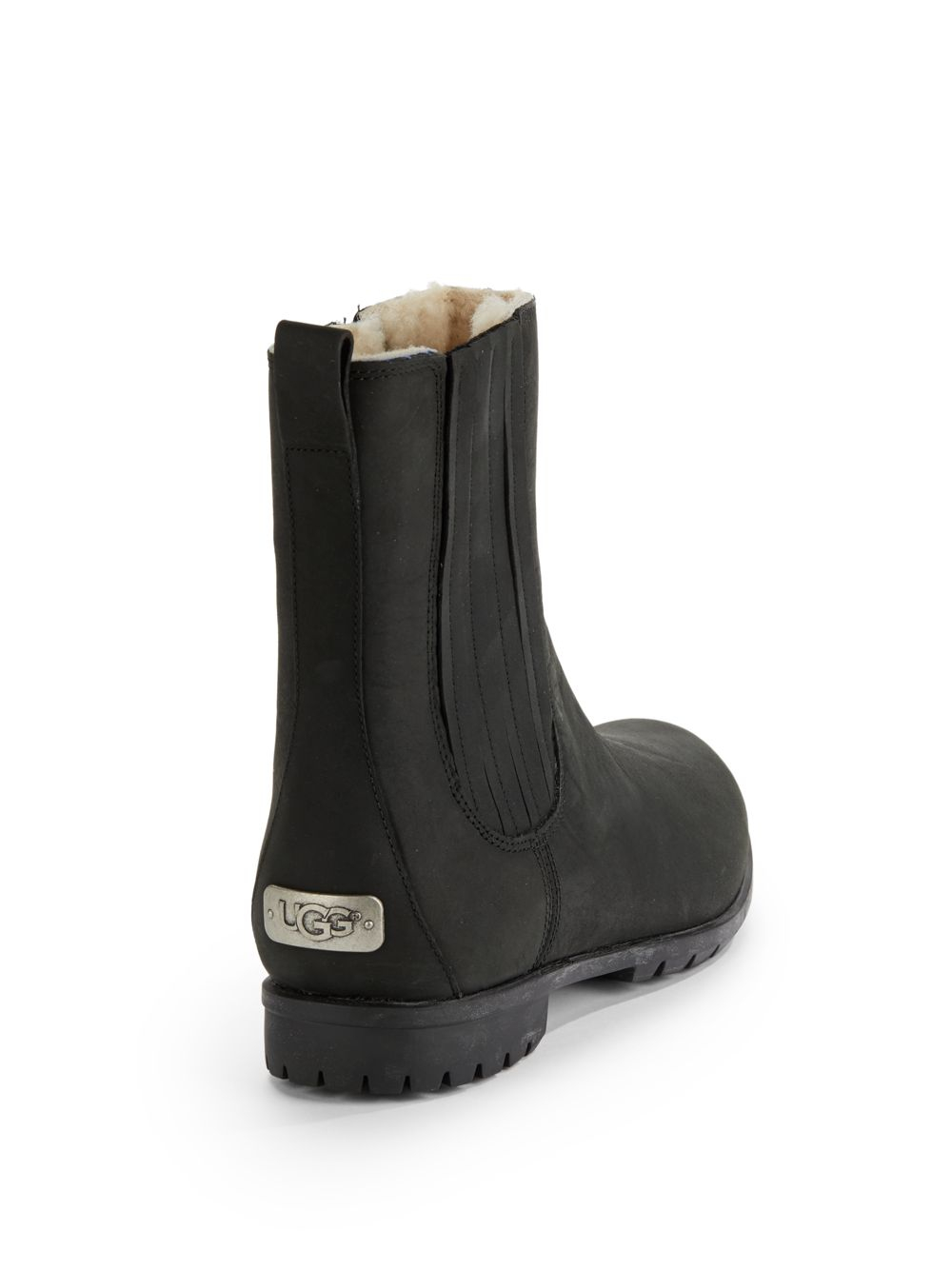 Lyst Ugg Ramos Sidezip Short Leather Boots In Black