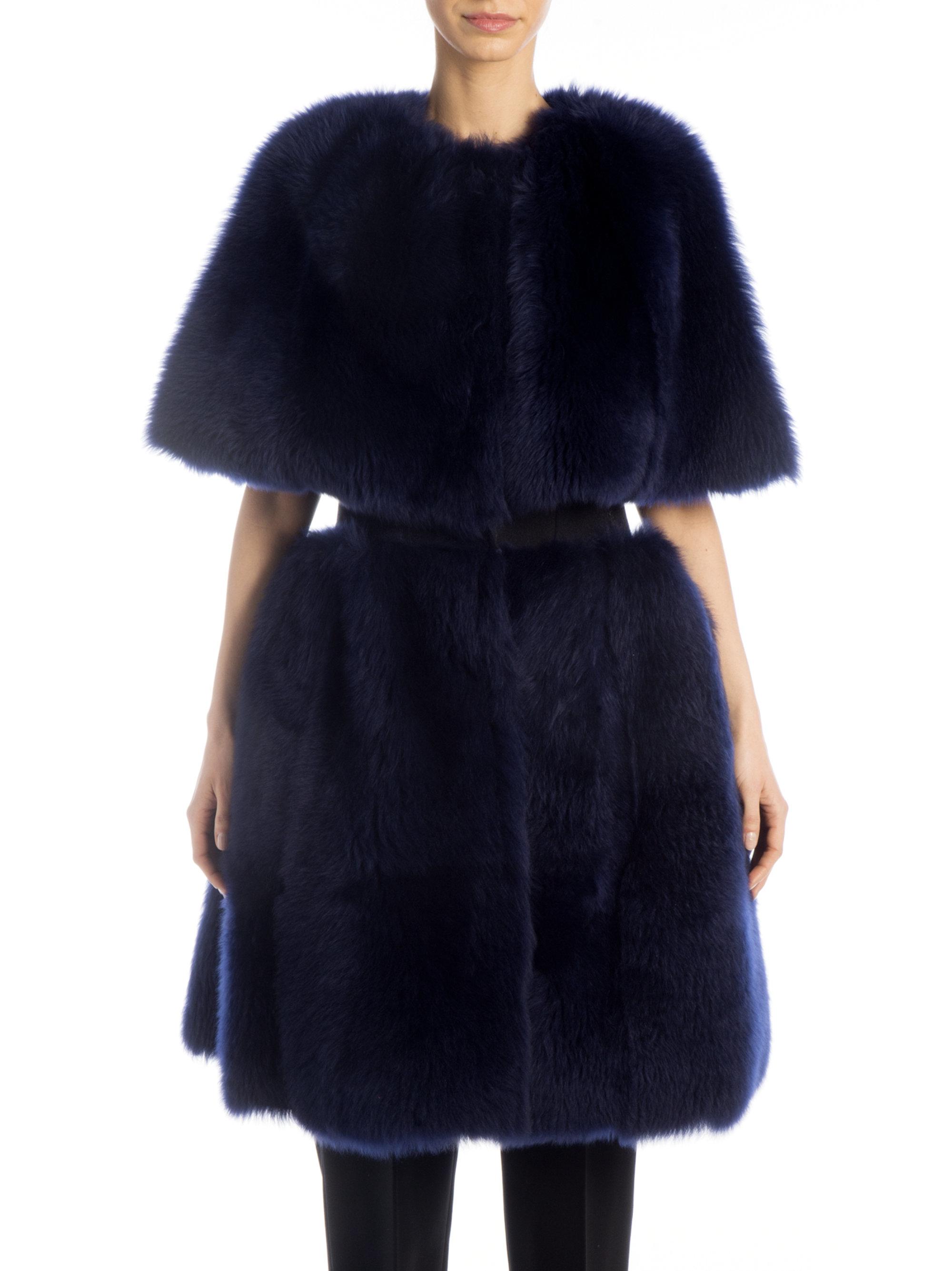 Giorgio armani Shearling Cape Vest in Blue | Lyst