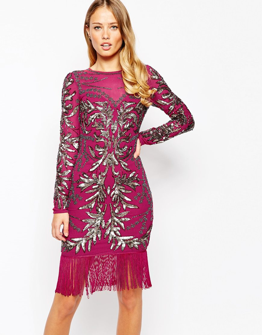 frock and frill long sleeve tassel hem pencil dress in all over embellishment in pink lyst. Black Bedroom Furniture Sets. Home Design Ideas
