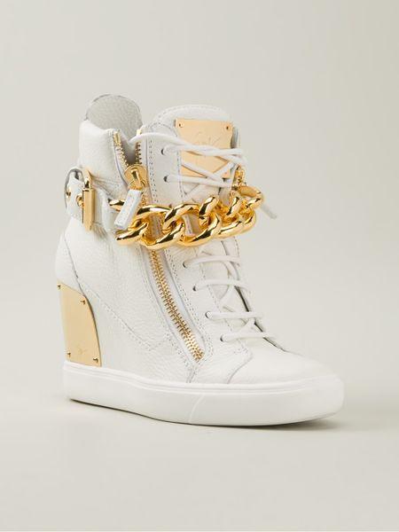 giuseppe zanotti wedge hitop sneakers in white lyst