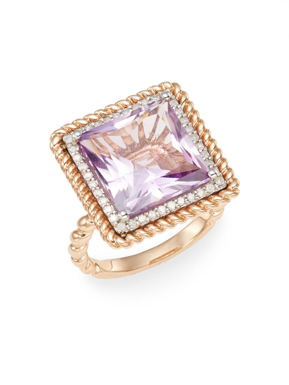 Lyst Effy Pink Amethyst Diamond Amp 14k Gold Ring In Pink