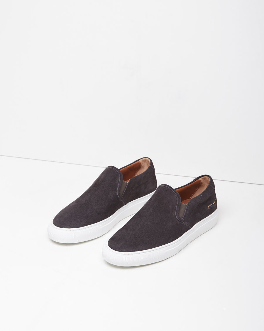 0198035ee674 Common Projects Nappa Suede Slip-on Sneakers in Gray - Lyst