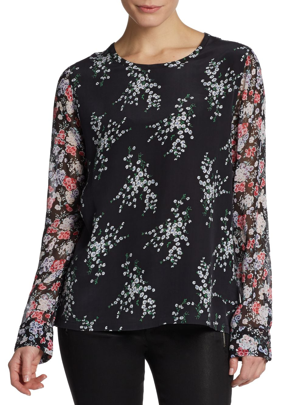 Lyst equipment liam floral print silk blouse in black for Equipment black silk shirt