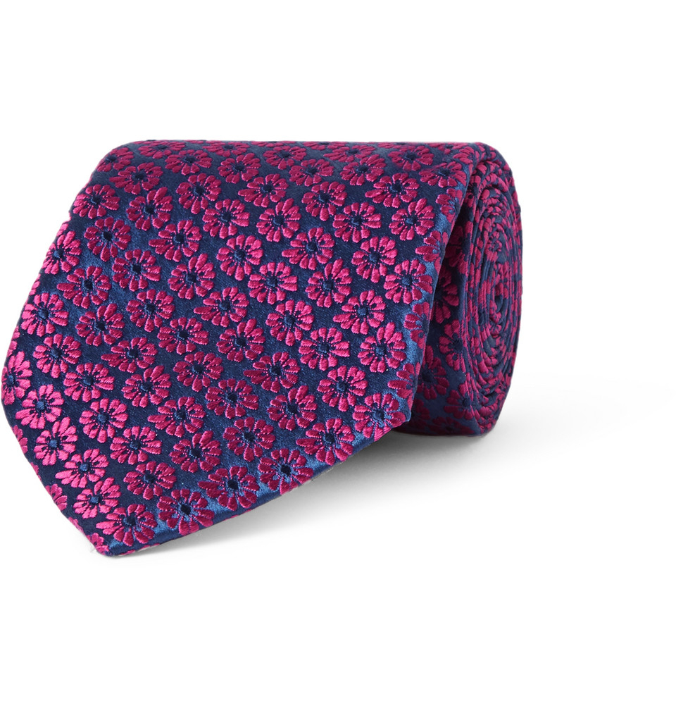Lyst charvet floral embroidered silk tie in blue for men