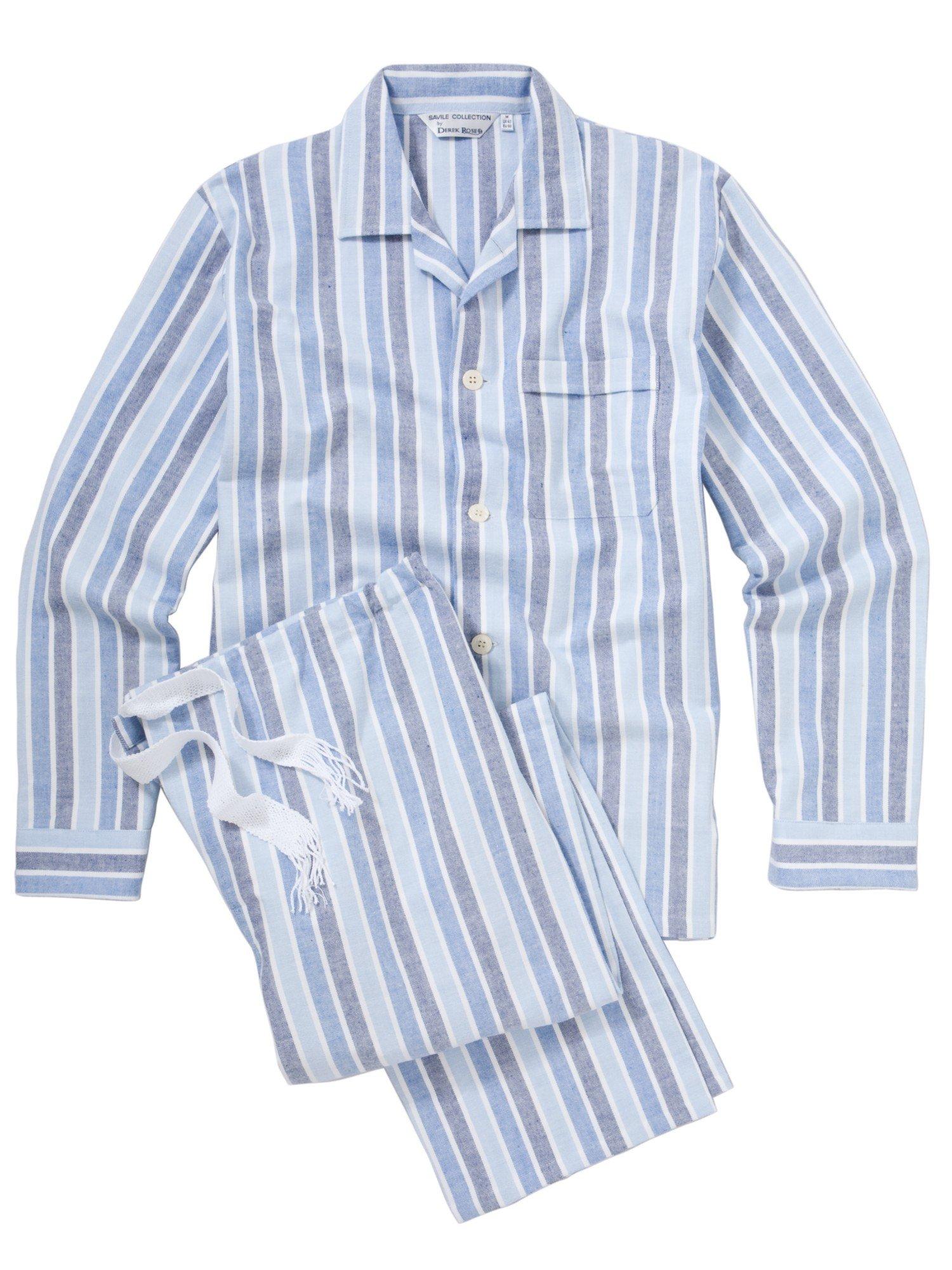 Powell Craft - Boys Blue Striped Pyjamas | Childrensalon