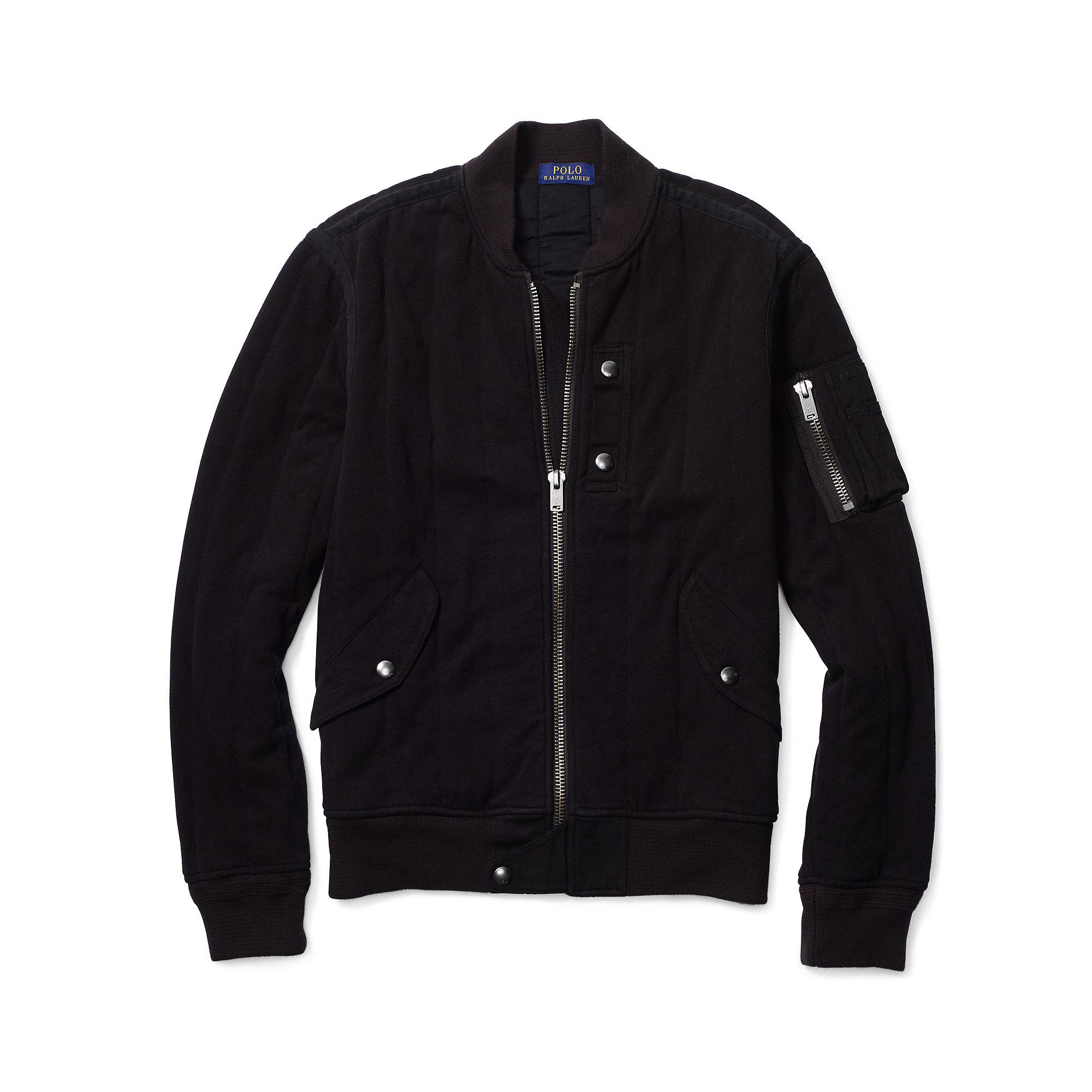 polo ralph lauren jersey bomber jacket in black lyst. Black Bedroom Furniture Sets. Home Design Ideas