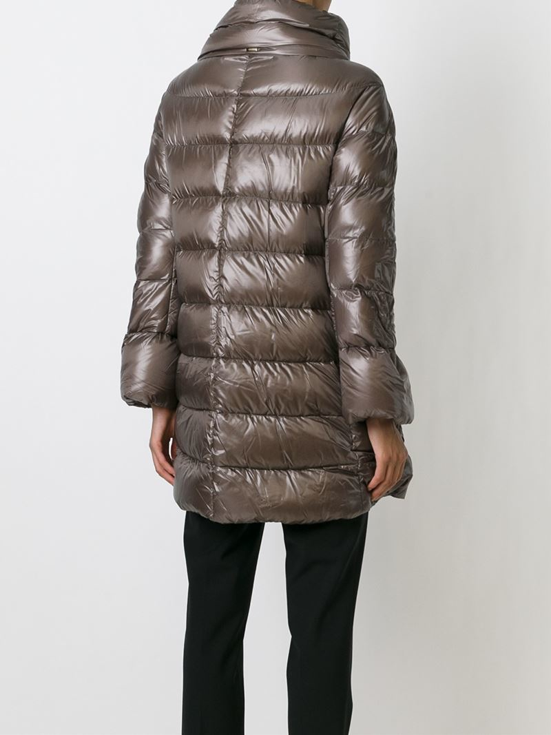 Herno Zipped Padded Coat in Brown | Lyst