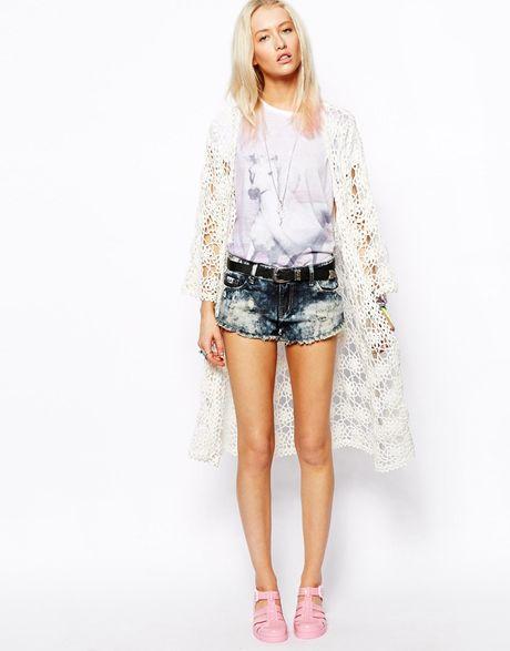 Asos Hand Knitted Long Crochet Kimono in White Lyst