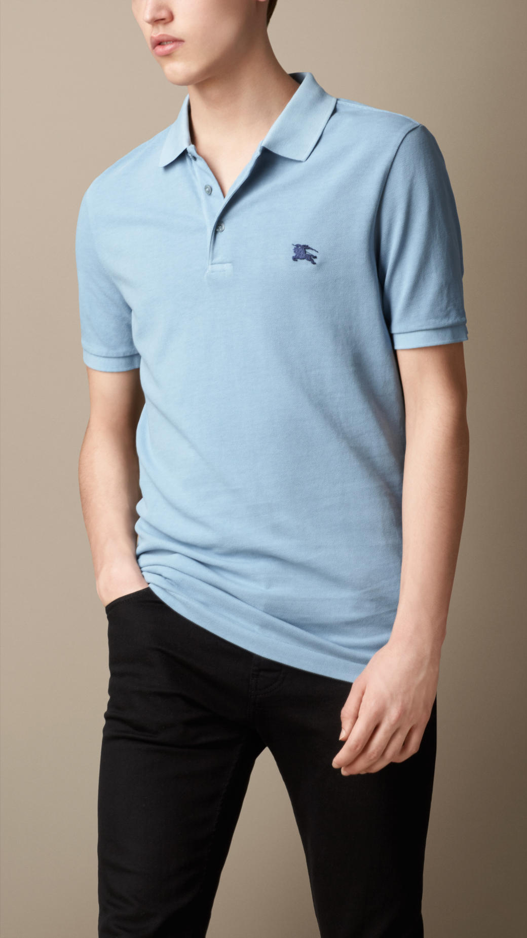 Burberry Cotton Piqu Double Dyed Polo Shirt In Blue For Men Lyst
