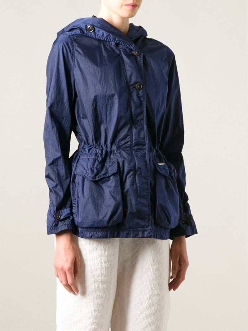 woolrich hooded windbreaker jacket in blue lyst. Black Bedroom Furniture Sets. Home Design Ideas