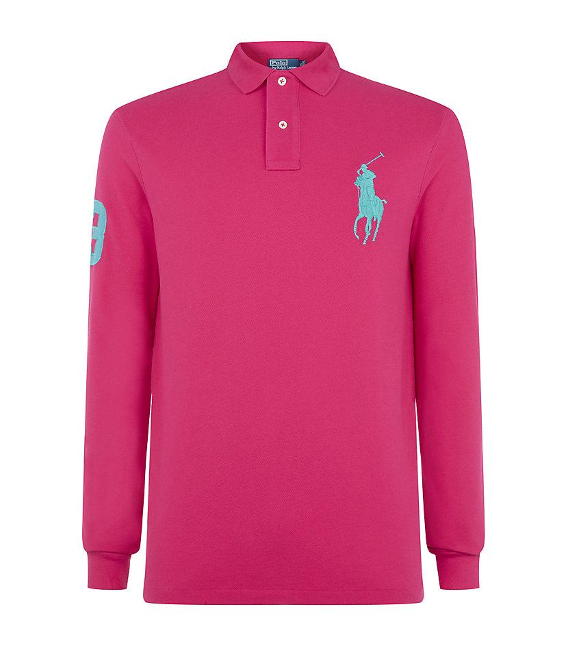 Polo ralph lauren custom fit big pony polo shirt in pink for Polo ralph lauren custom fit polo shirt