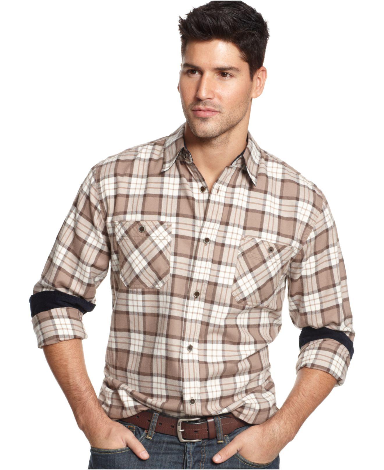 Lyst weatherproof vintage plaid flannel long sleeve for Weatherproof vintage men s lightweight flannel shirt