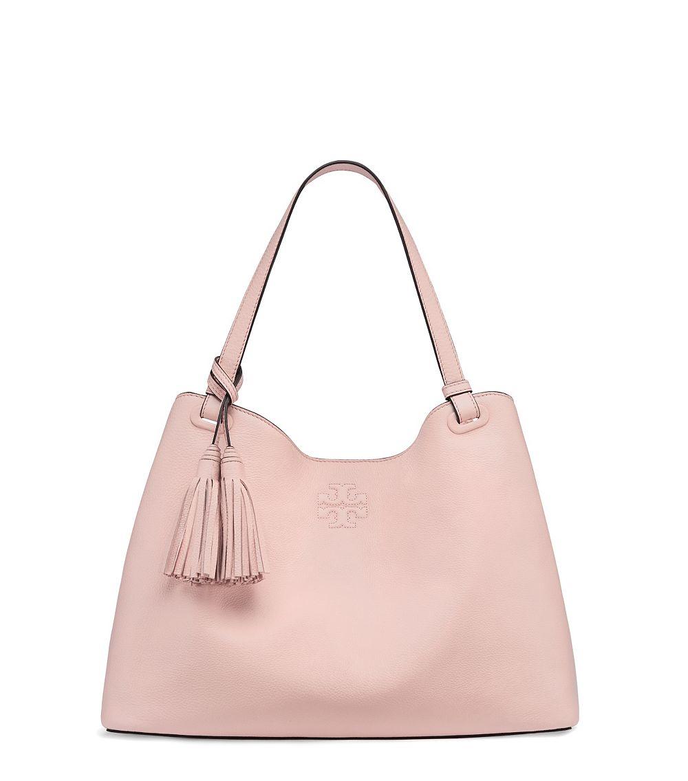 1da22335428 Tory Burch Thea Center-Zip Leather Tote in Pink - Lyst