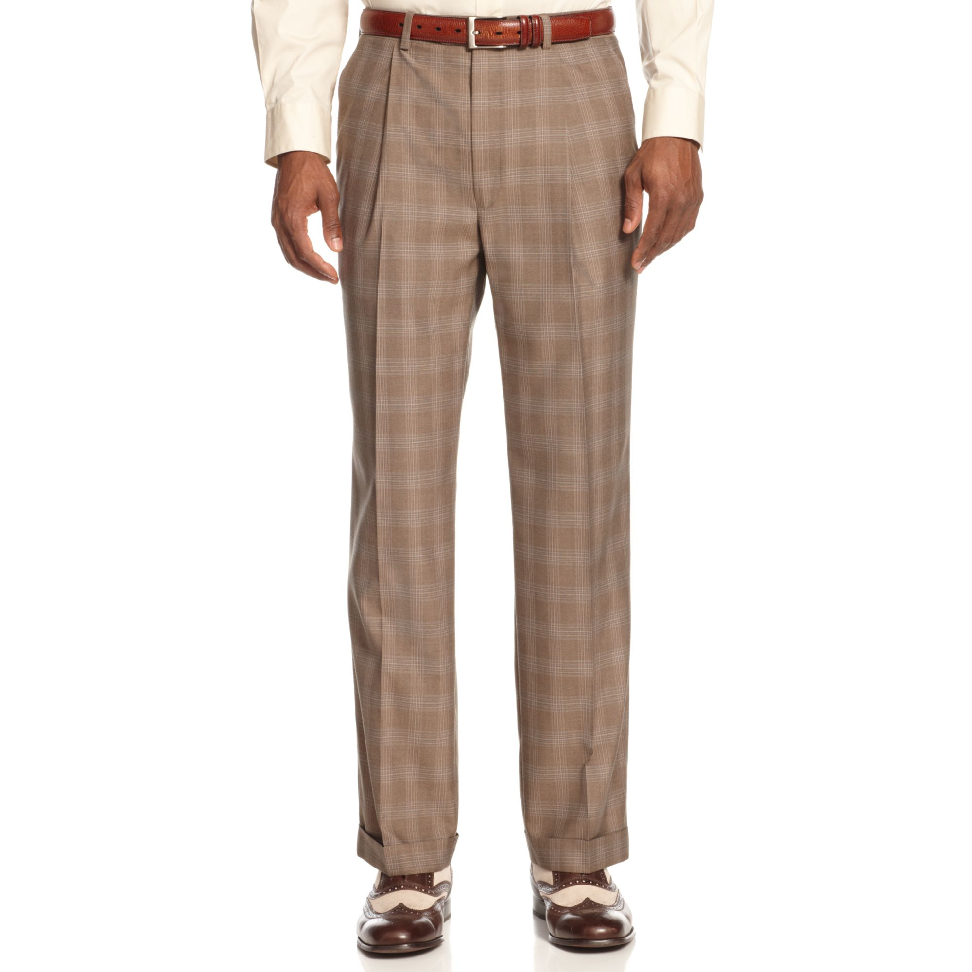 Sean john Light Brown Plaid Pants in Brown for Men | Lyst