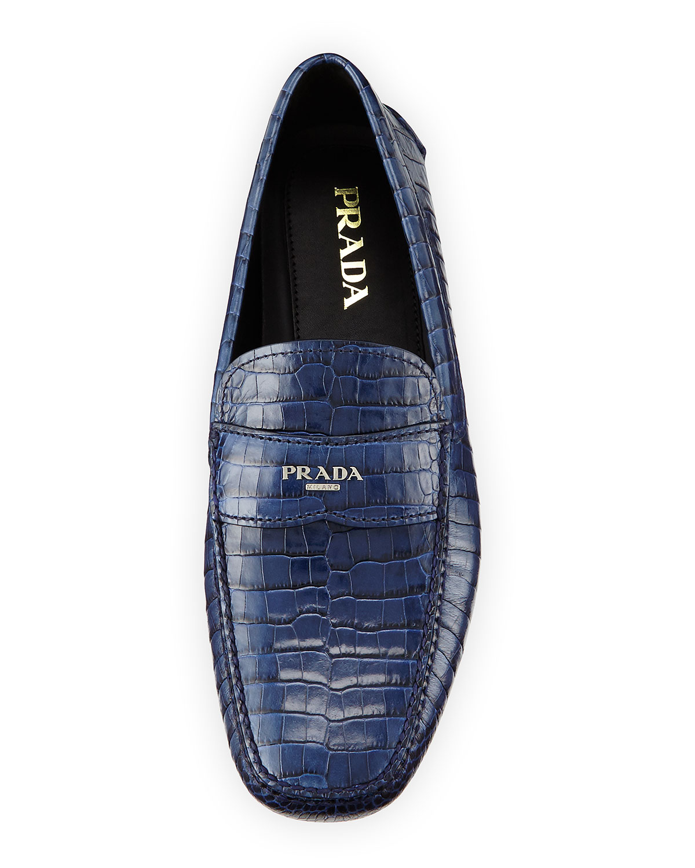 prada soft leather bag - Prada Crocodile-Print Leather Loafers in Blue (NAVY) | Lyst
