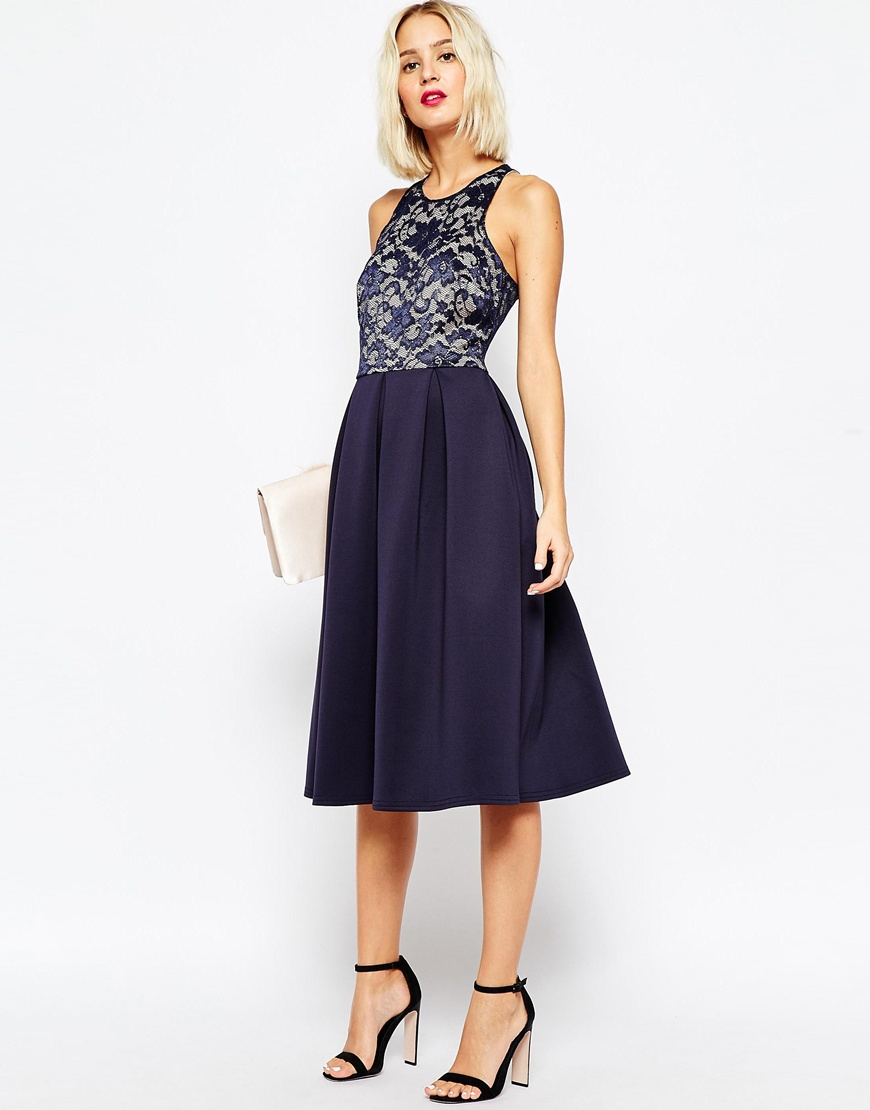 7771cfba7ae Lyst - ASOS Lace Top Skater Midi Dress in Blue