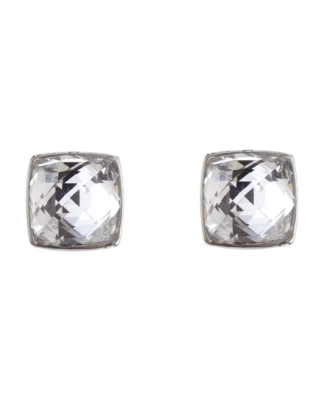 Lyst - Swarovski Silver-Tone Square Crystal Earrings in Metallic 03ac45b8679b