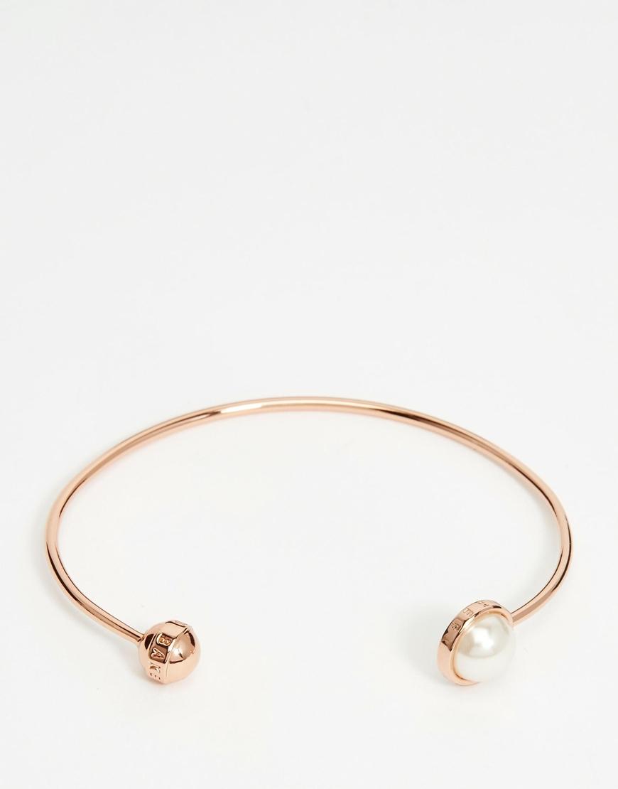 c148623a8 Ted Baker Siera Single Faux Pearl Ultra Fine Cuff Bracelet in Pink ...