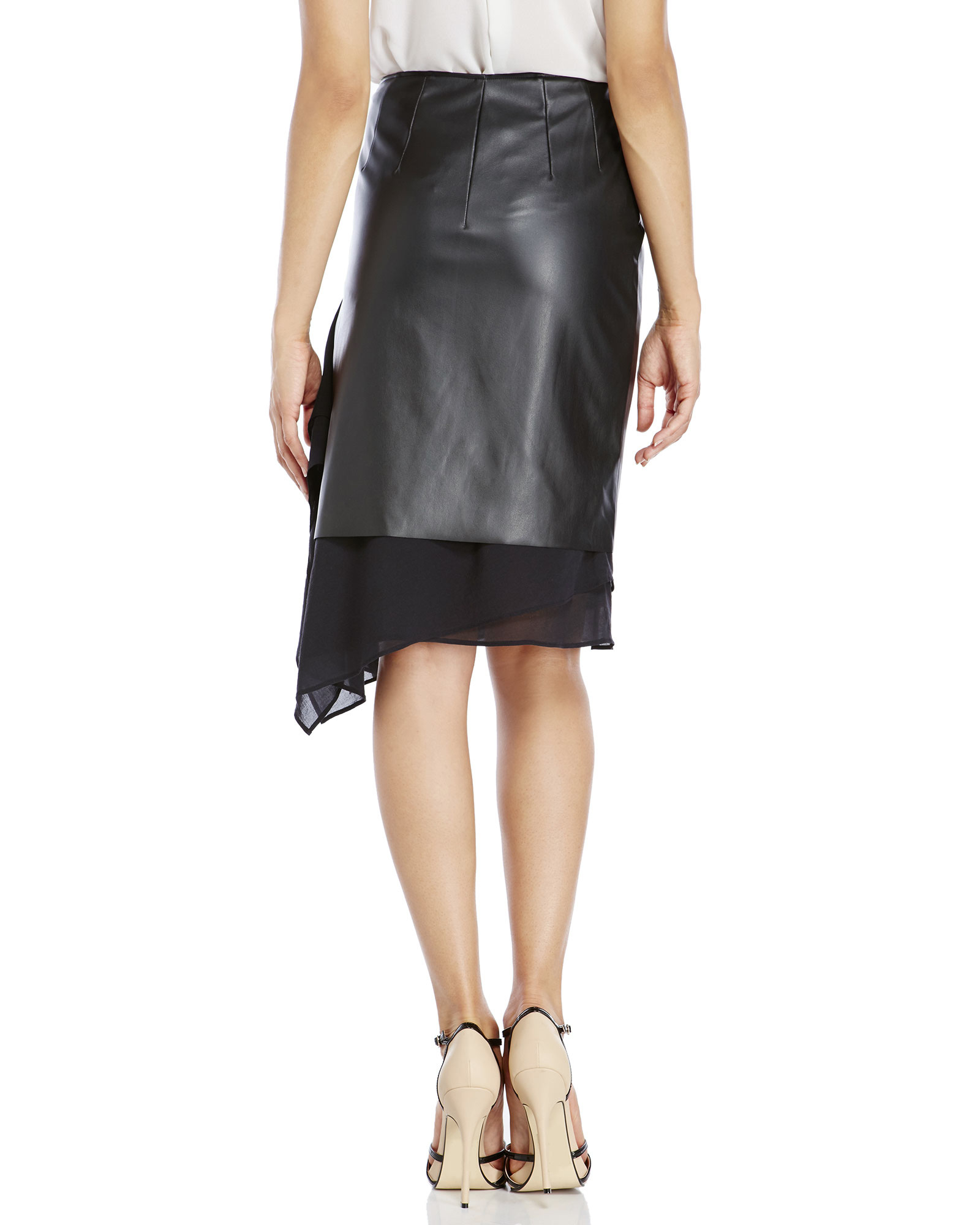 This formfitting leather ANINE BING skirt has a ruched seam accenting the front that shapes the asymmetrical hem. Hidden side zip. Lined. Fabric: Leather. Shell: % lambskin. Lining: 97% polyester/3% elastane. Leather clean.