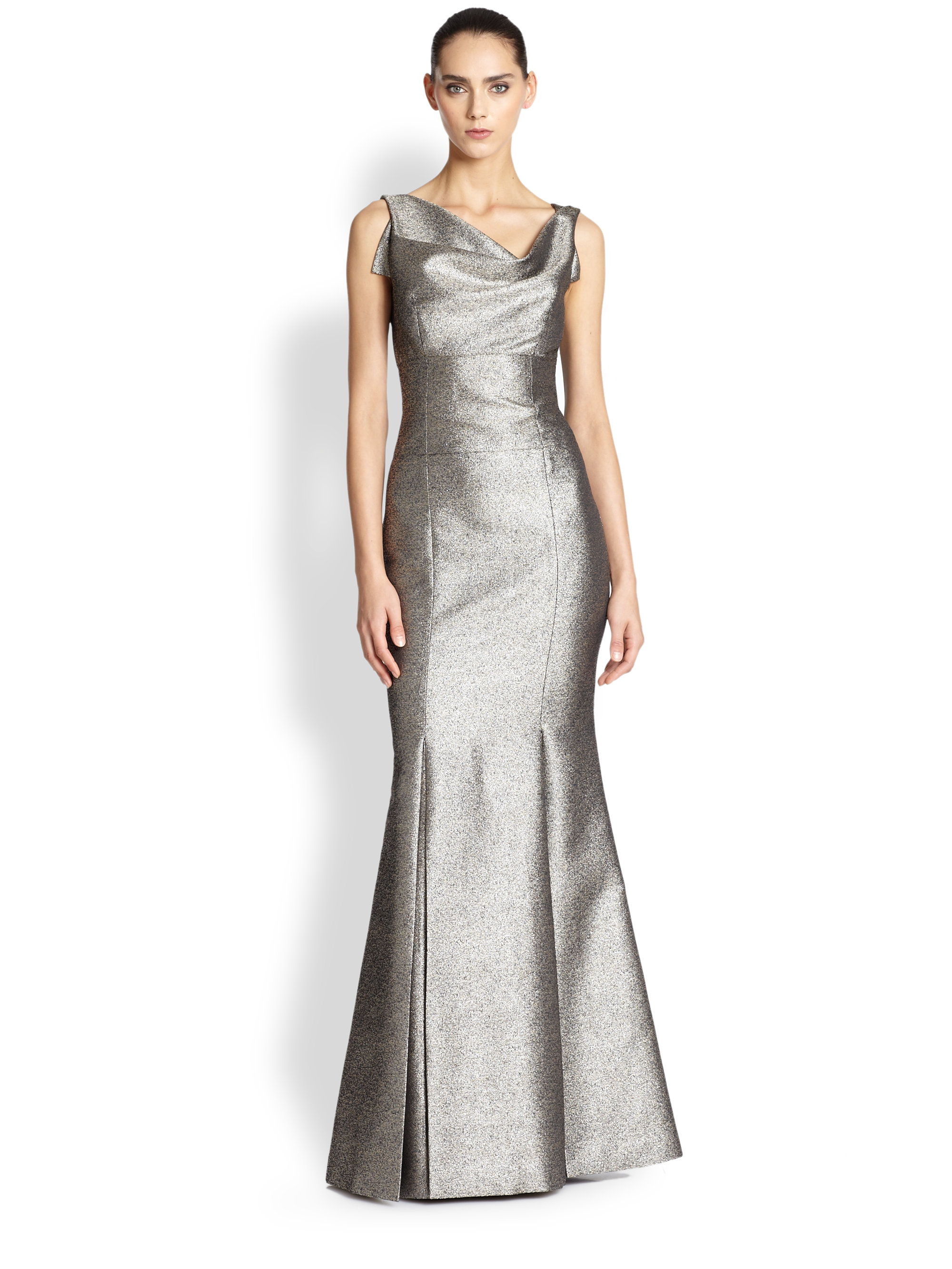 Lyst - Black Halo Drape-Neck Metallic Gown in Metallic