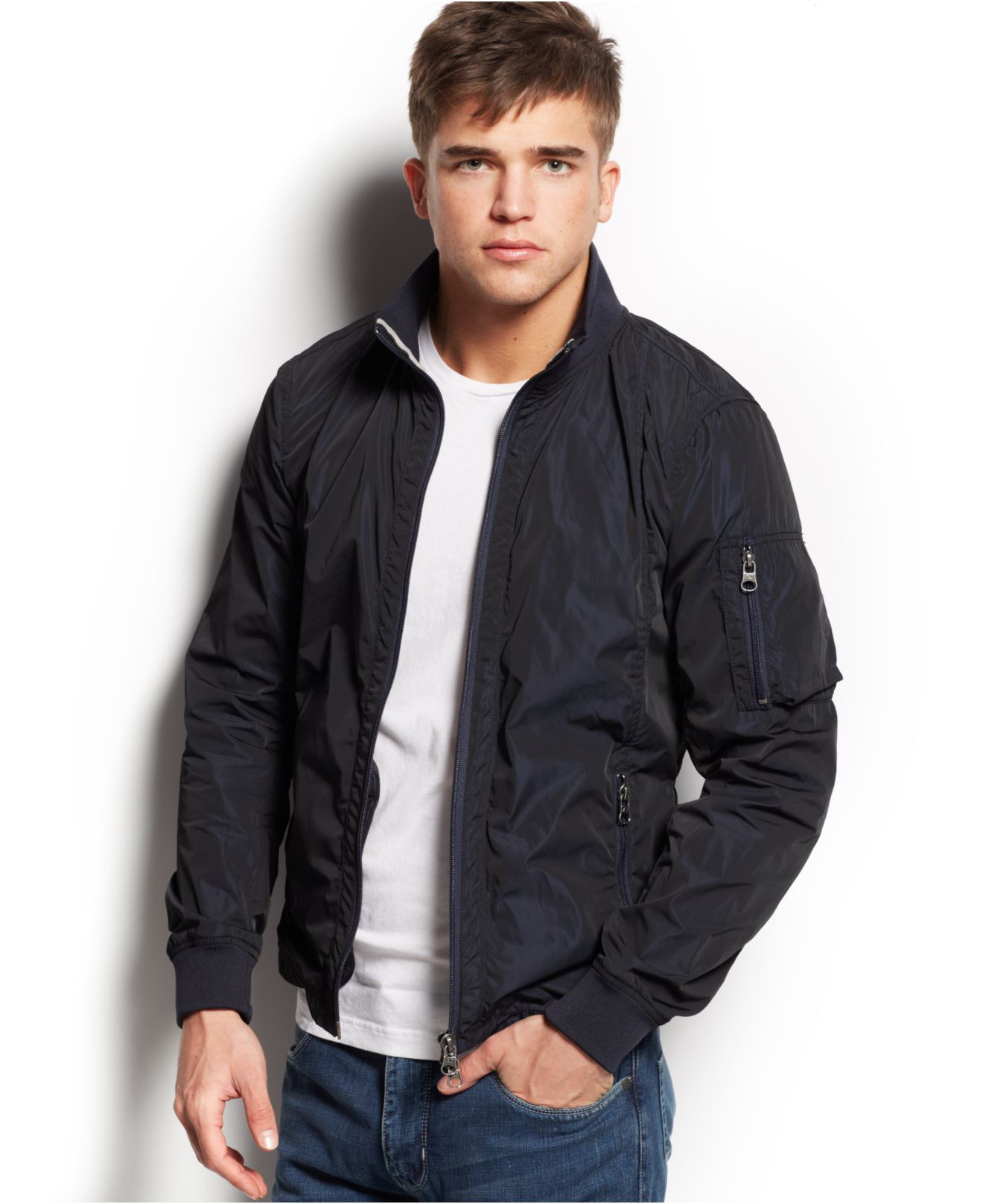 Armani jeans Iridescent Bomber Jacket in Black for Men