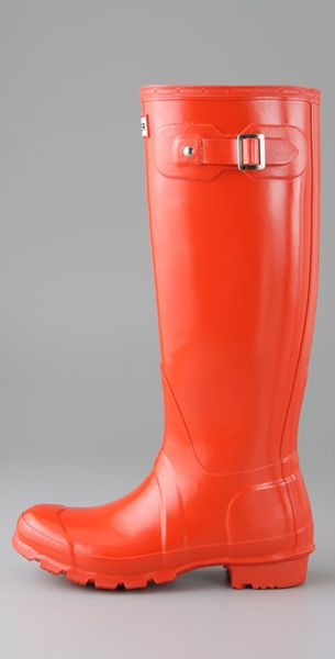 Hunter Hunter Original Tall Gloss Rain Boots In Orange
