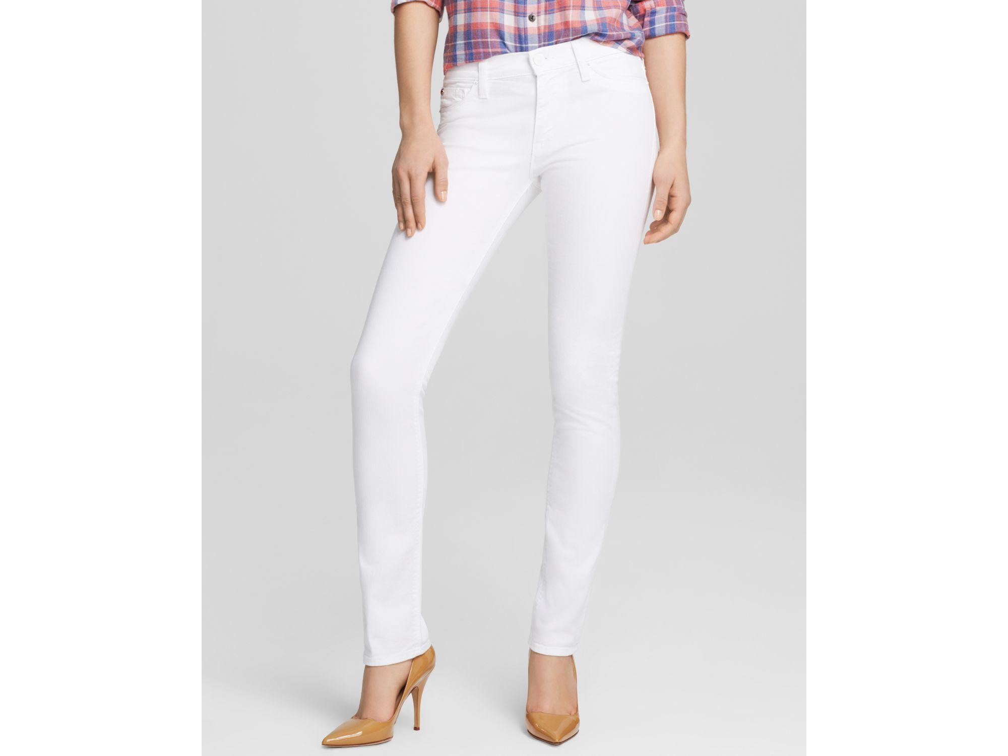 Hudson jeans Shine Mid Rise Skinny Jeans In White in White | Lyst