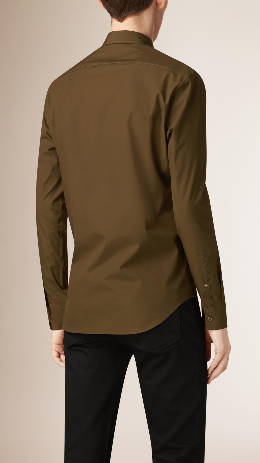 Lyst burberry check detail stretch cotton poplin shirt for What is a poplin shirt