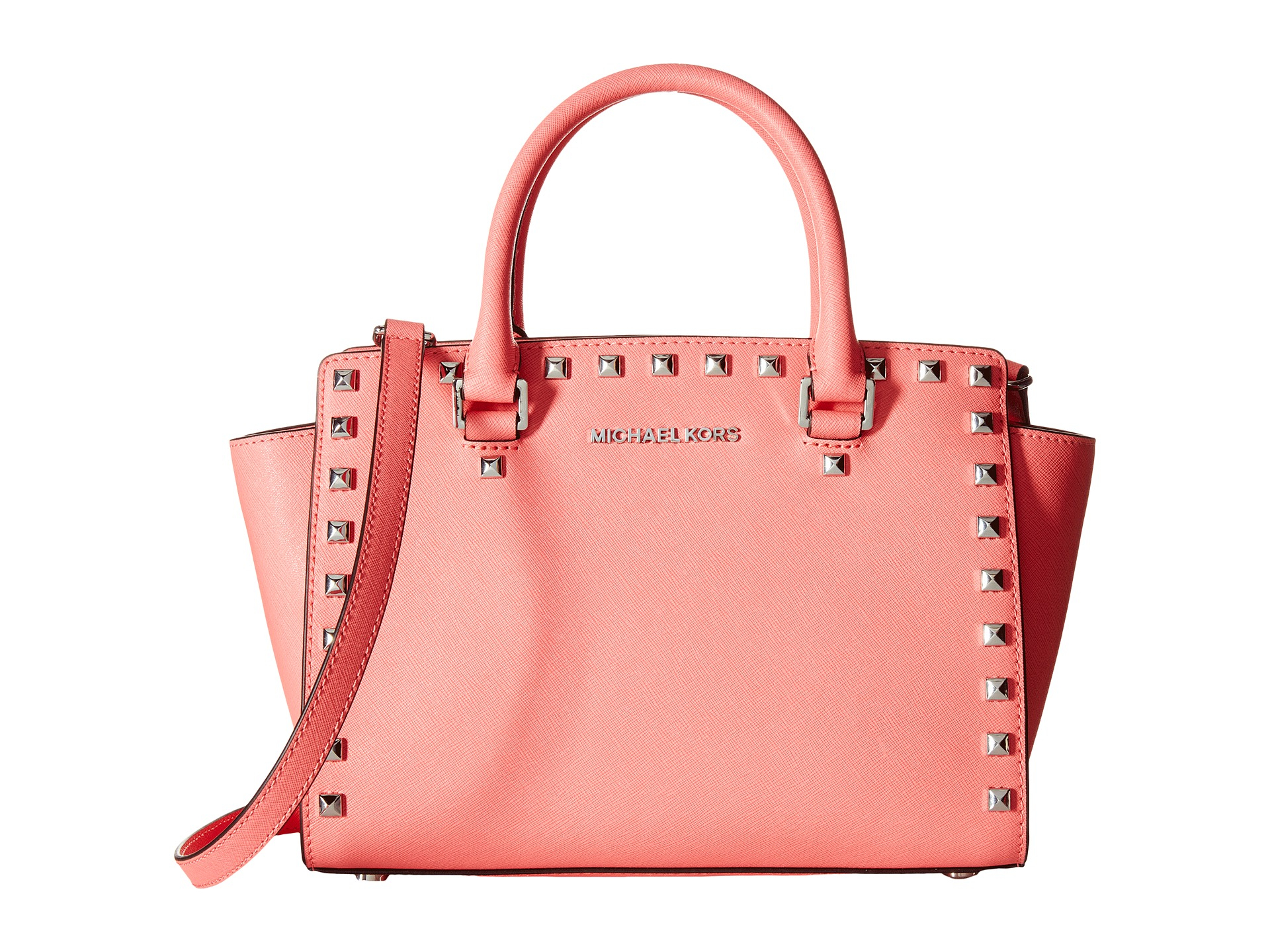 michael michael kors selma stud medium top zip satchel in pink lyst. Black Bedroom Furniture Sets. Home Design Ideas