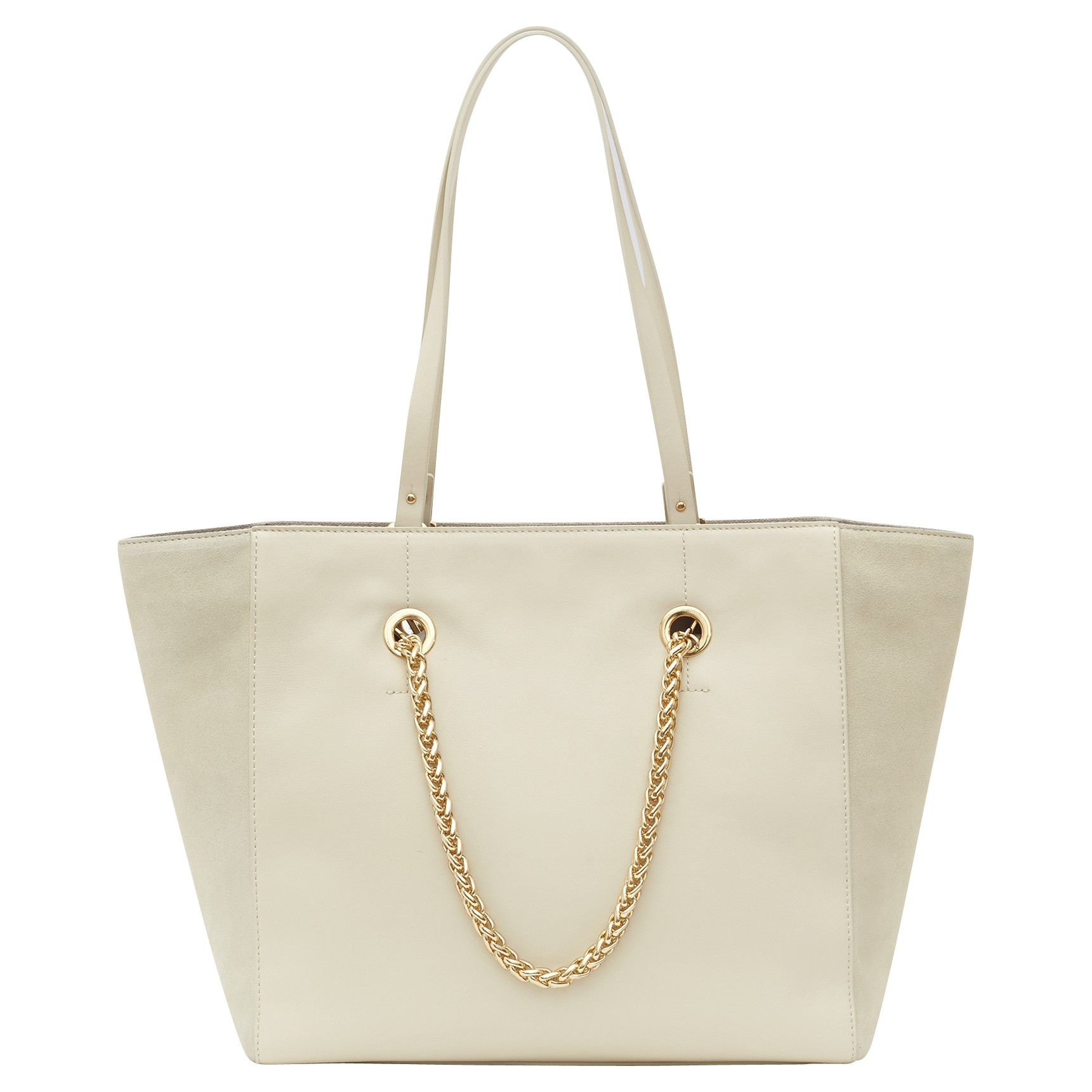 Reiss Cherry Suede And Leather Tote Bag in Beige (CREAM) | Lyst