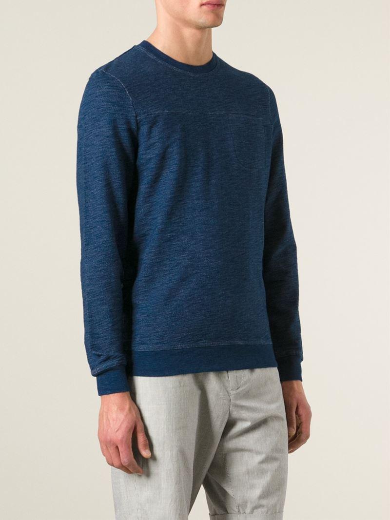 oliver spencer crew neck sweatshirt in blue for men lyst. Black Bedroom Furniture Sets. Home Design Ideas