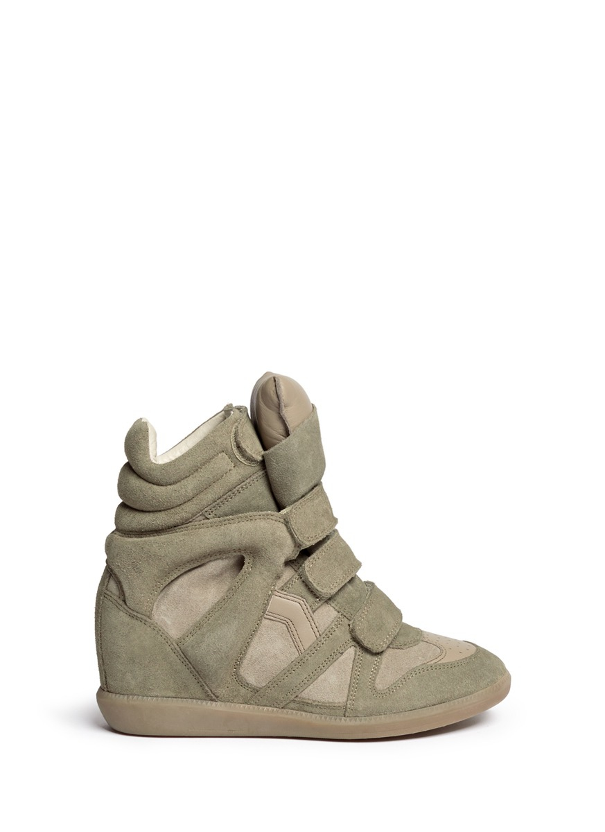 toile isabel marant bekett suede high top wedge sneakers in green lyst. Black Bedroom Furniture Sets. Home Design Ideas
