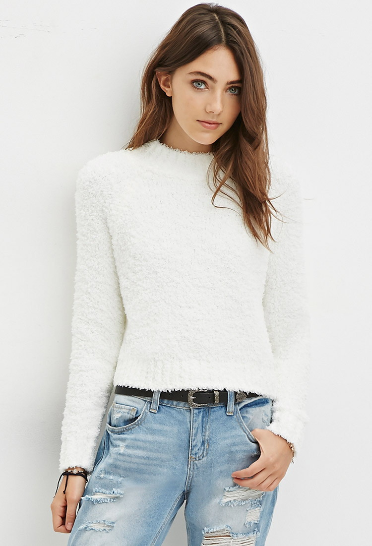 Forever 21 Fuzzy Mock Neck Sweater in White | Lyst