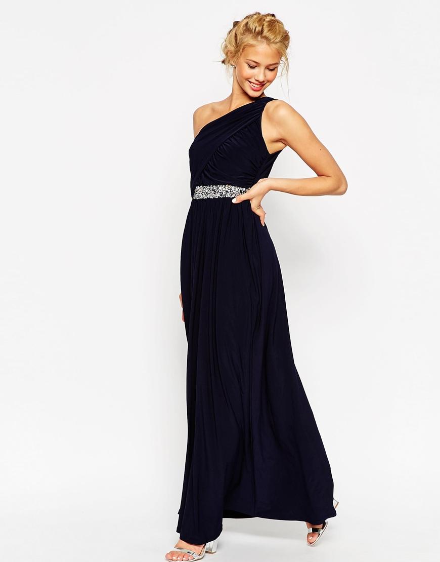 Navy one shoulder maxi dress
