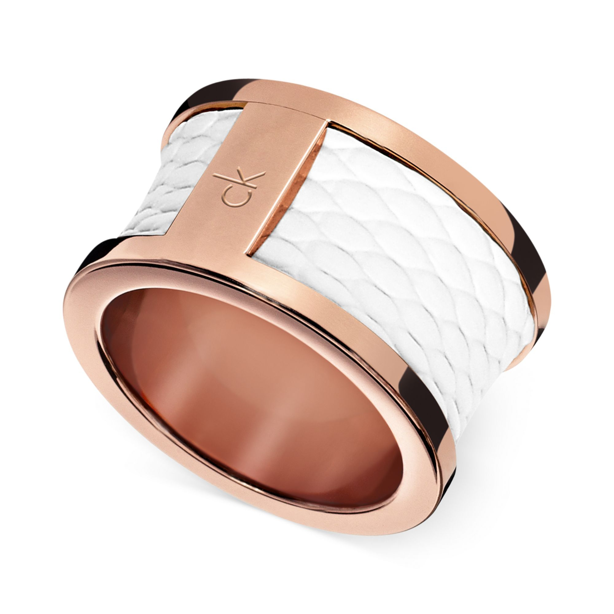 Lyst Calvin Klein Ck Rose Gold Pvd White Leather Barrel Ring in Pink
