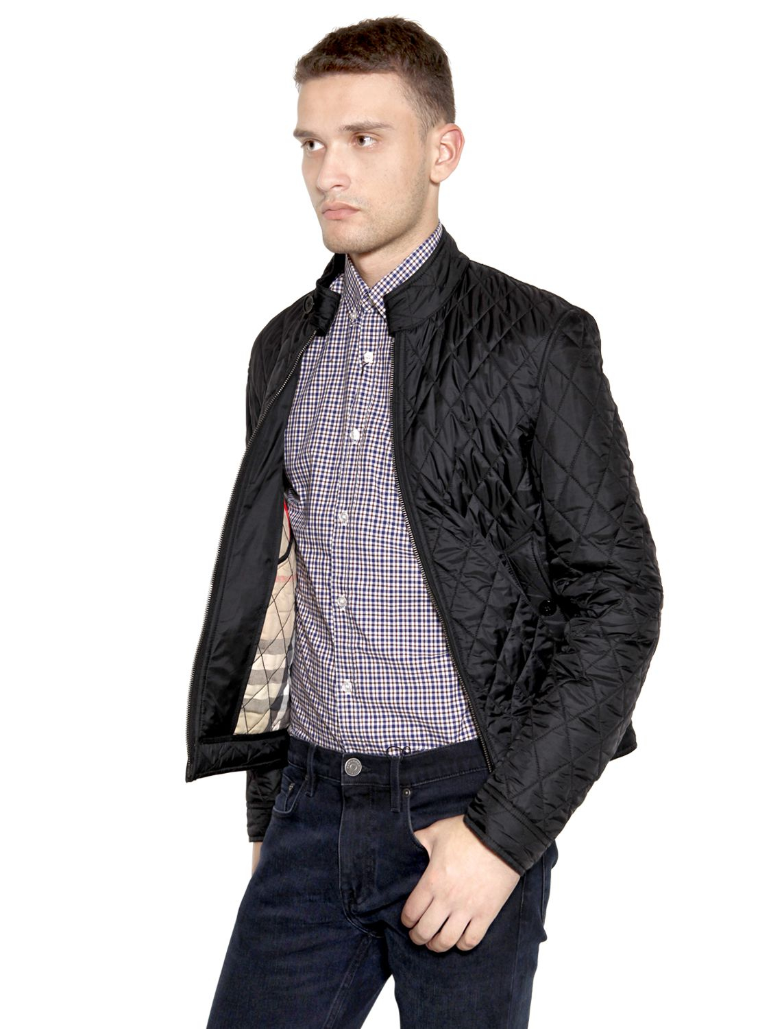 of brit quilted jacket lyst russel sale black mens x good burberry photo for in quilt att men diamond