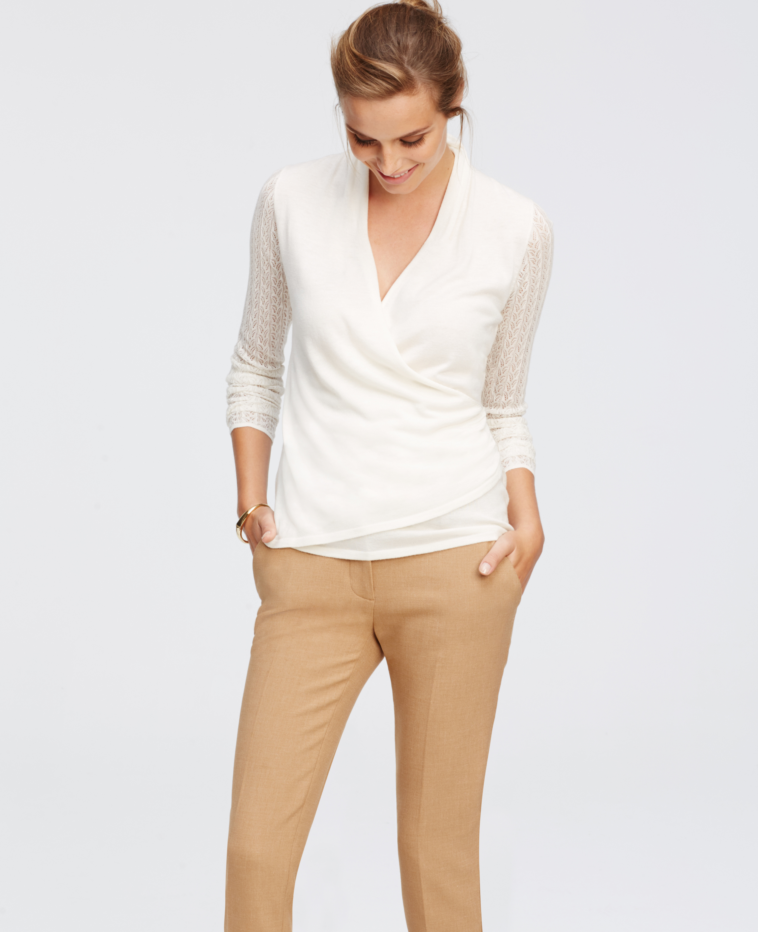 Ann taylor Pointelle Wrap Sweater in White | Lyst