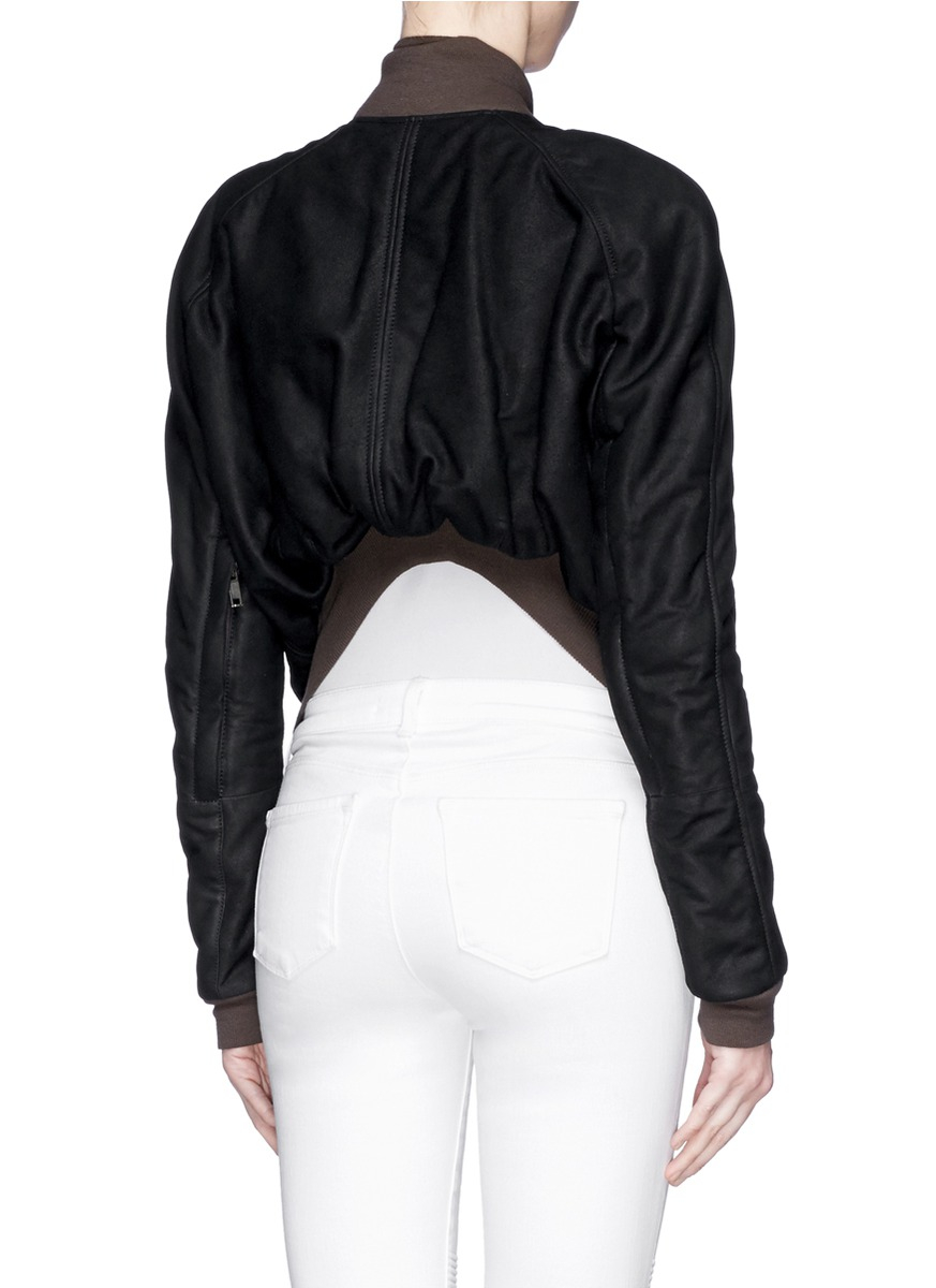 Womens Leather Bomber Jacket