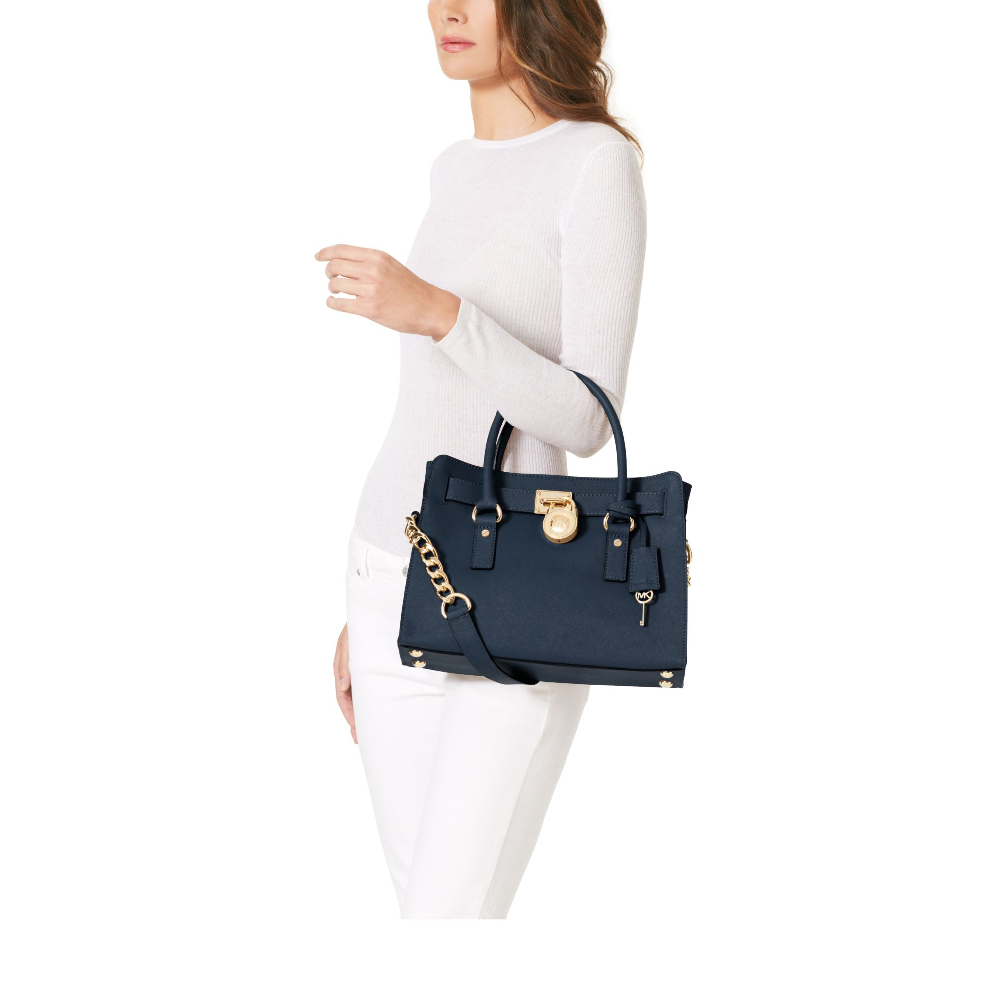 Lyst - Michael Kors Hamilton Saffiano Leather Medium Satchel in Blue f3133687bdb89