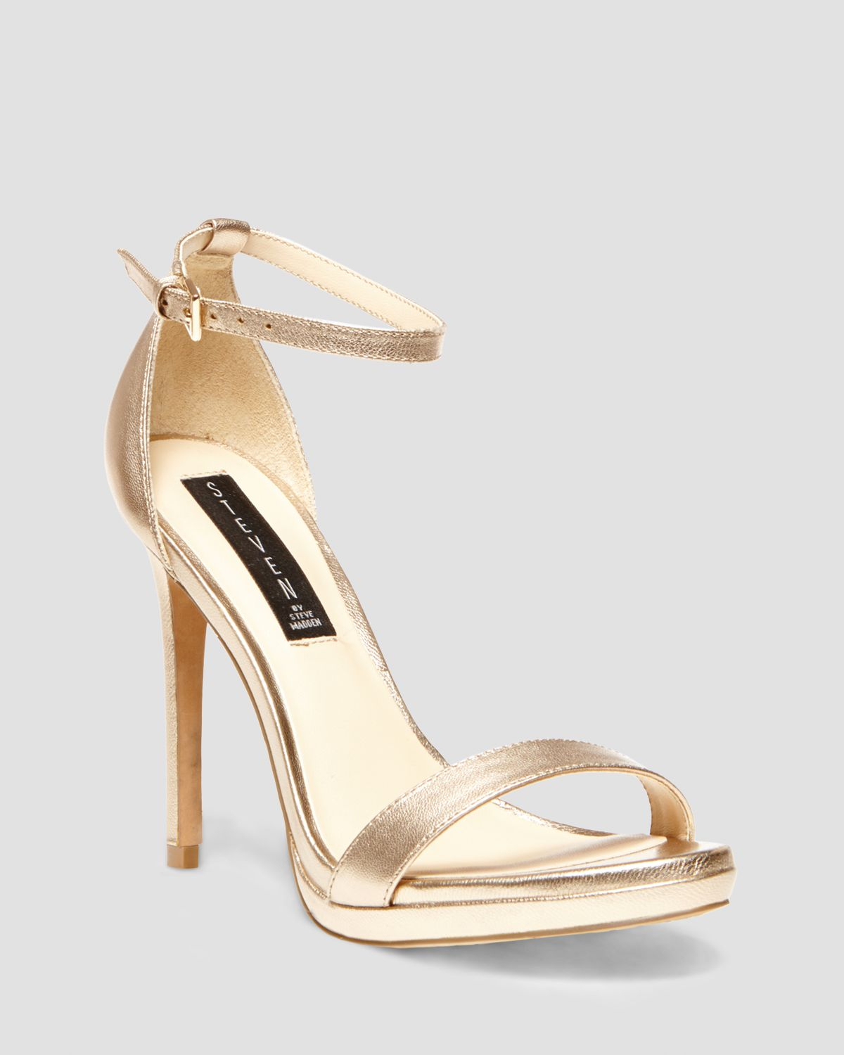 steven by steve madden sandals rykie ankle strap high heel in gold lyst. Black Bedroom Furniture Sets. Home Design Ideas