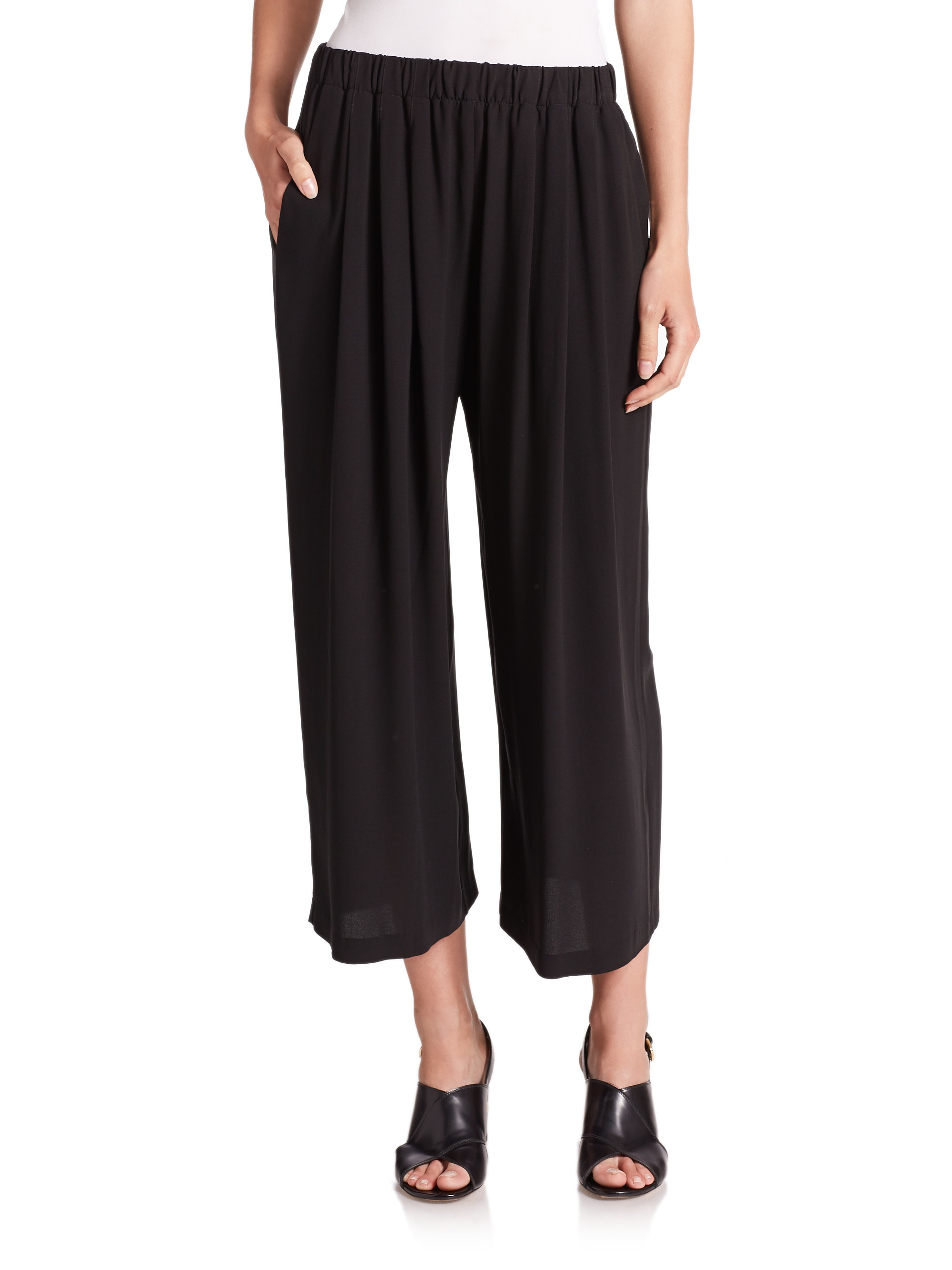Eileen fisher Ankle-length Silk Pants in Black | Lyst