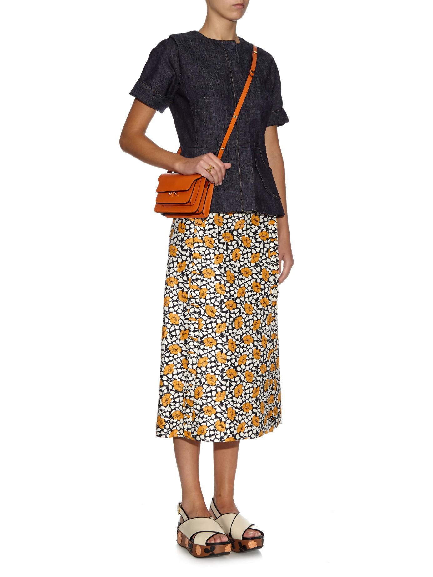 Lyst - Marni Trunk Mini Leather Shoulder Bag in Orange a5a8c09e73228