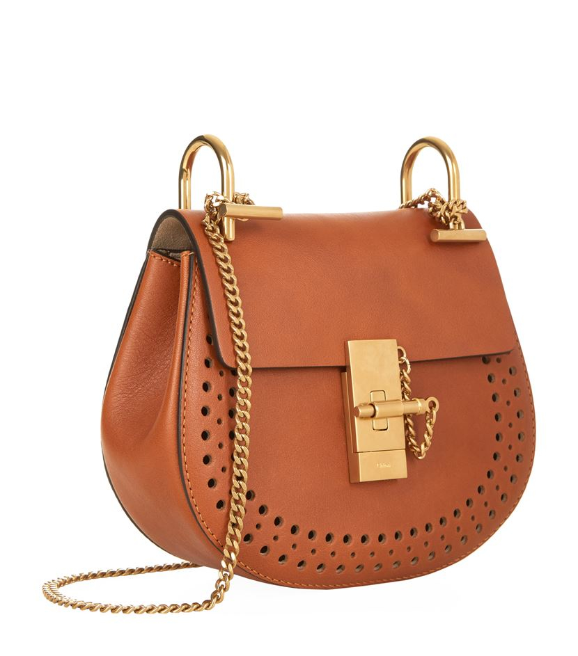 Chlo�� Drew Mini Perforated Leather Shoulder Bag in Brown | Lyst