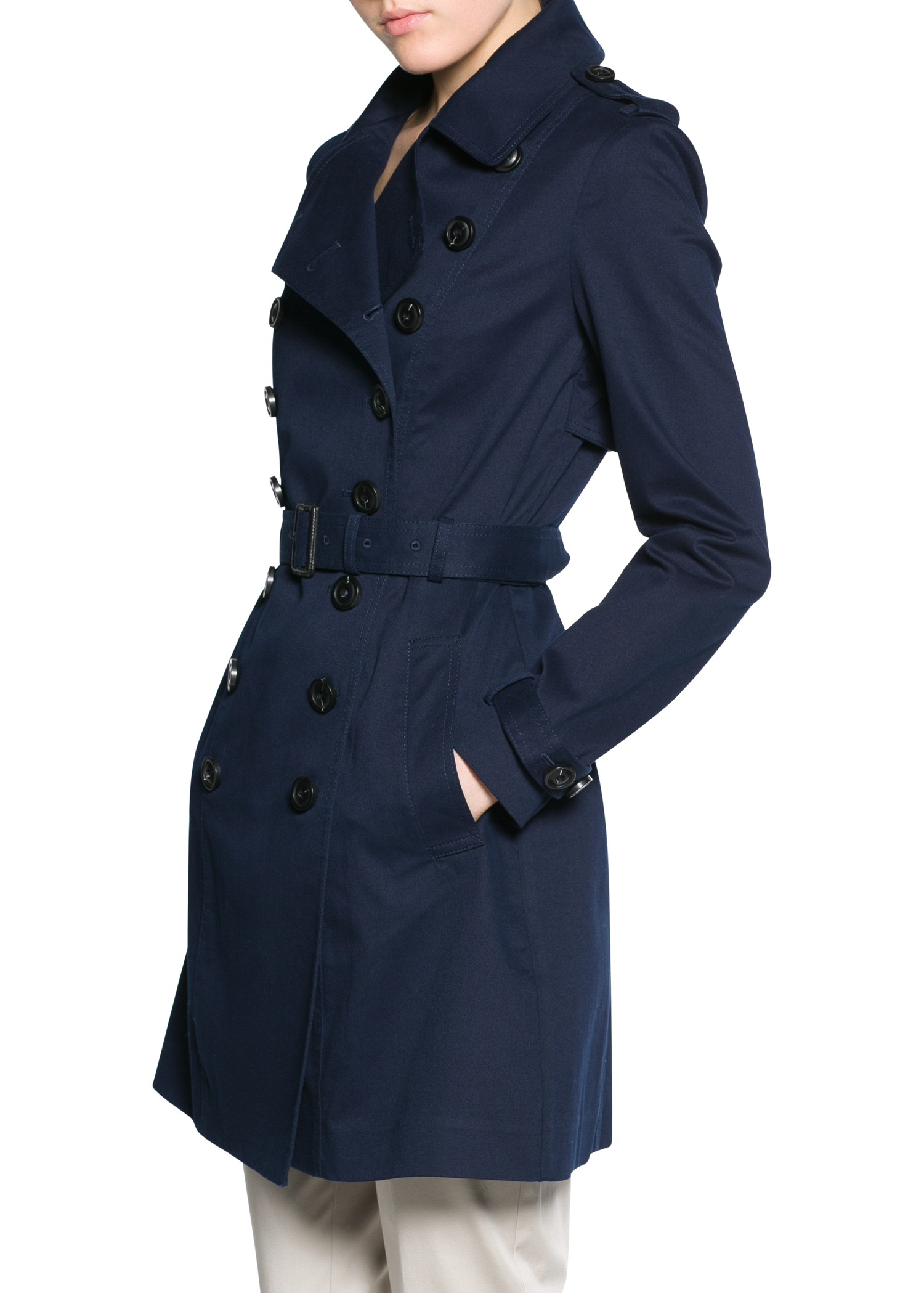 Lyst Mango Classic Cotton Trench Coat In Blue